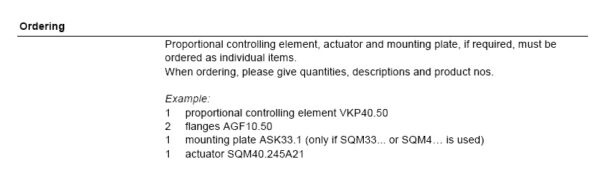 Siemens ordering VKP Valve AGF10 Flanges Mounting Plate Actuator
