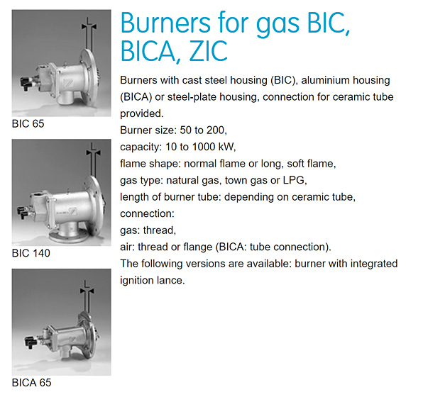 Honeywell-Kromschroder BIC Industrial Burner variations