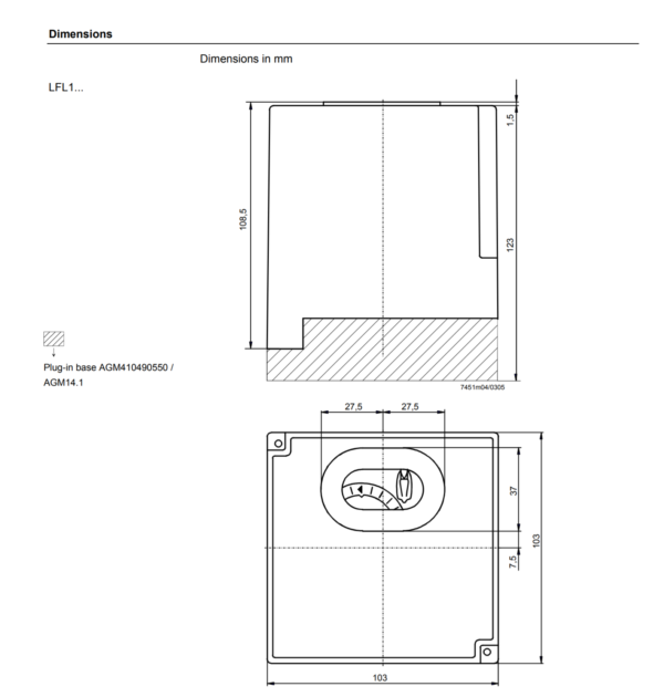 Siemens LFL1 Burner Control Dimensions