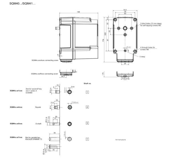 Siemens SQM40 SQM41 Actuator Dimensions