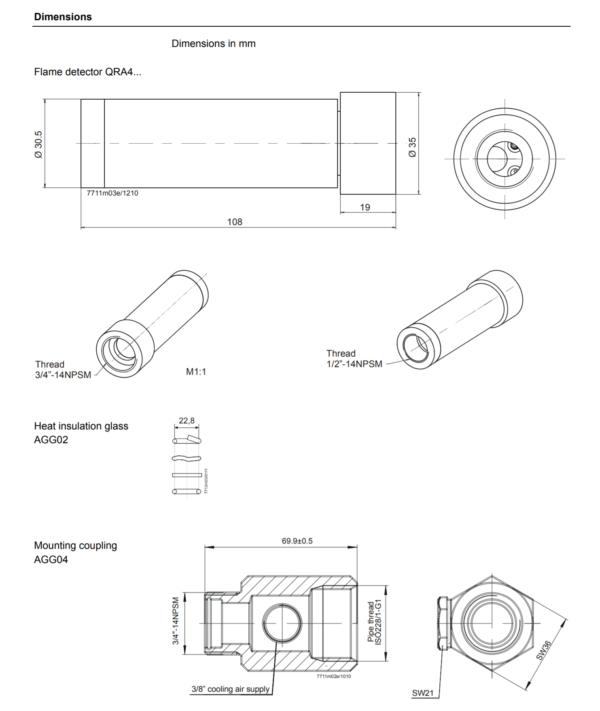 Siemens QRA4 UV Flame Detector Dimensions