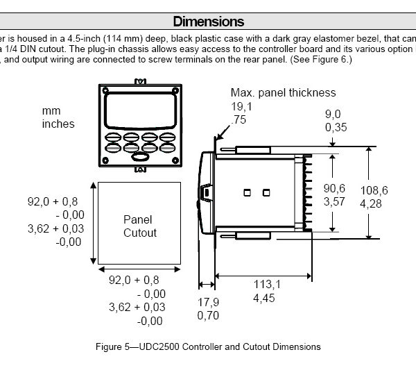 Honeywell 2500 Dimensions