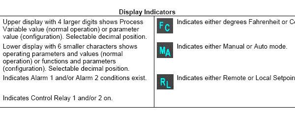 Honeywell 2500 Display Indicators
