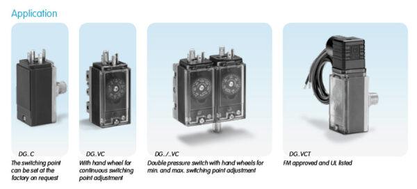 Honeywell Kromschroder DG Compact Gas Pressure Switch variations